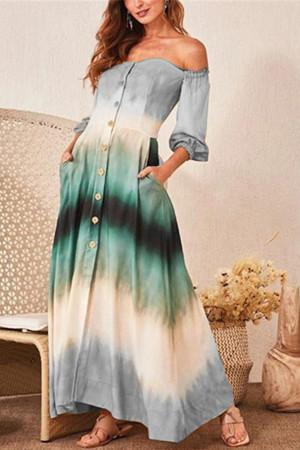 Color-block Off-the-shoulder Dress