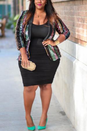 Color Striped Sequins Jacket