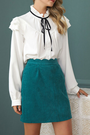 Corduroy Scalloped Trim Skirt