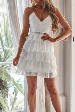 Crisscross Backless Lace Short Dress