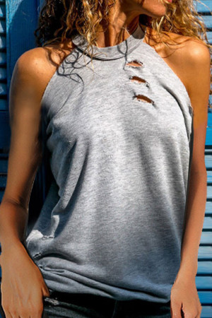 Cut Out Solid Halter Tank Top
