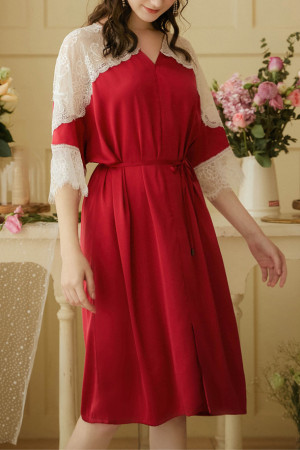 Burgundy Lace Patched Nightdress