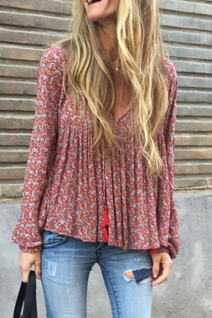 Ditsy Floral Ruched Blouse