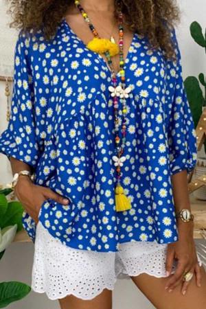 Ditsy Floral V-neck Blouse