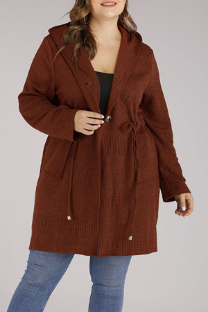 Plus Size Hooded Sweater Coat