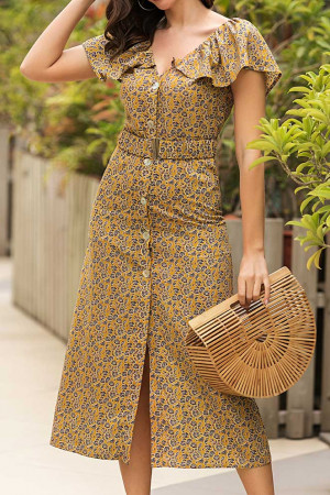 Floral Buttoned Midi Dress