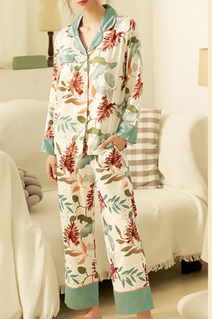 Floral Buttoned Pajamas Pants Set