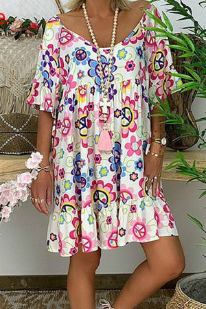 Floral Print Ruffled Tunic Dress