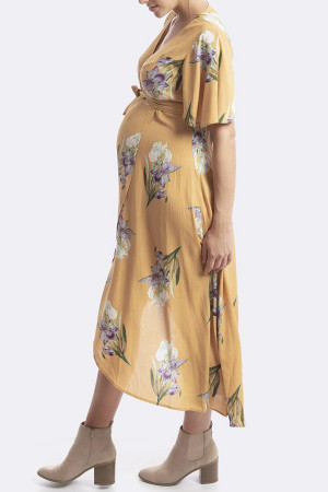 Floral V-neck Maternity Wrap Dress