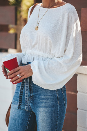 Flounce Smocked Crop Blouse
