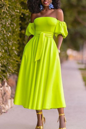 Fluorescent Green Wrap Dress