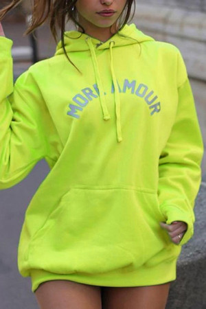 Fluorescent Letter Print Hoodie