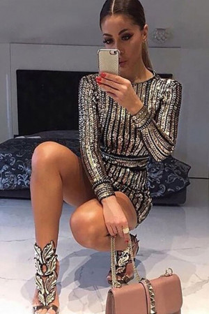 Sparkly Sequin Mini Bodycon Dress