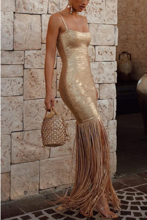 Gold Tassel Patched Dress