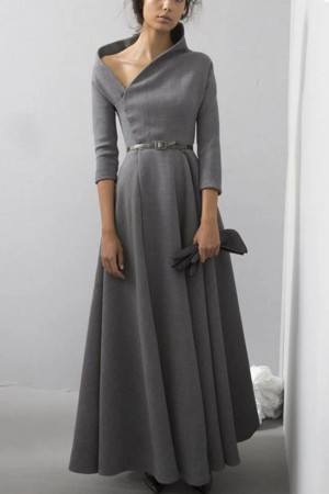 Gray Off Shoulder Work Dress