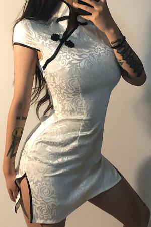 Half-Neck Button Vintage Dress