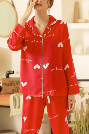 Heart Print Button Pajama Suit