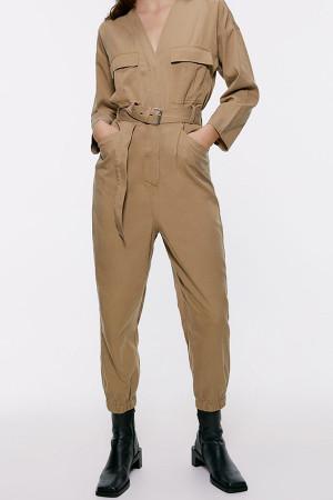 Khaki Pockets Belted Jumpsuit
