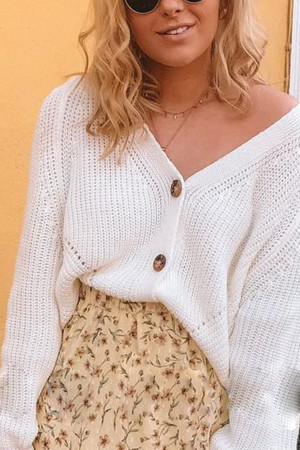 Knit Buttoned Solid Cardigan