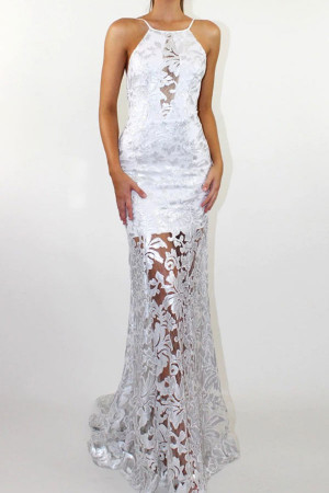 Lace Backless Prom Dress
