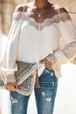 Lace Panel Spaghetti Straps Blouse