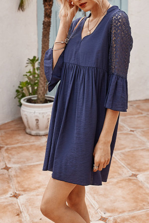 Lace Panel Swing Dress
