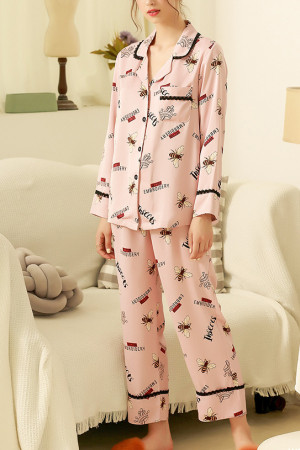Lapel Printed Pajamas Suit