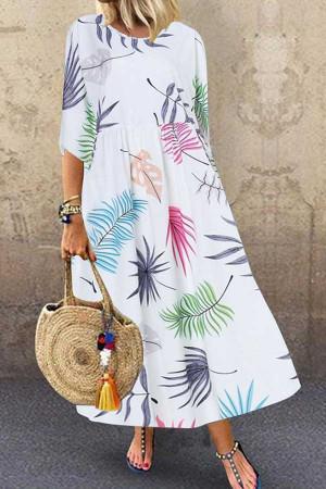 Leafy Print Maxi Dress