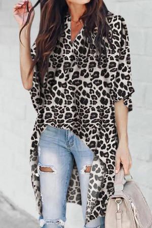 Leopard Print Asymmetric Blouse