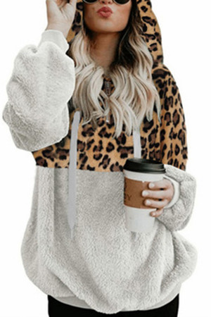 Leopard Print Fluffy Hoodie