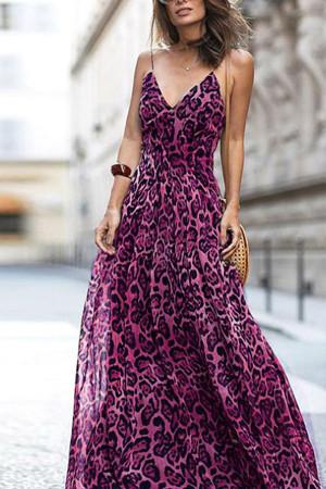 Leopard Print Long Cami Dress