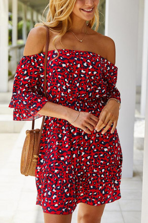 Leopard Print Off-the-shoulder Dress