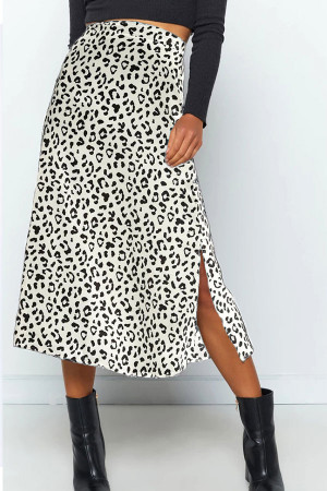 Leopard Print Split Skirt