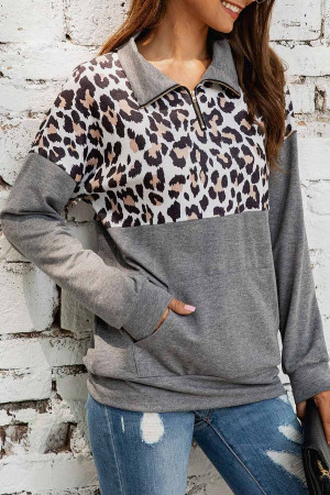 Leopard Print Zipper Sweatshirt