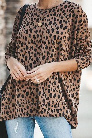 Loose Leopard Print Sweatshirt