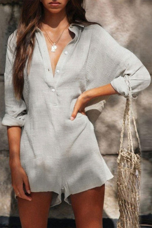 Loose Shirt Button Romper