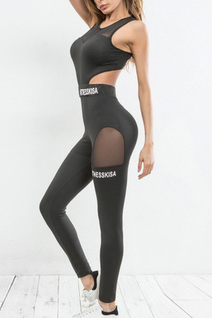 Mesh Panel Workout Jumpsuit