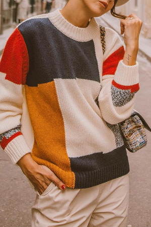 Multi-color Pullover Sweatshirt