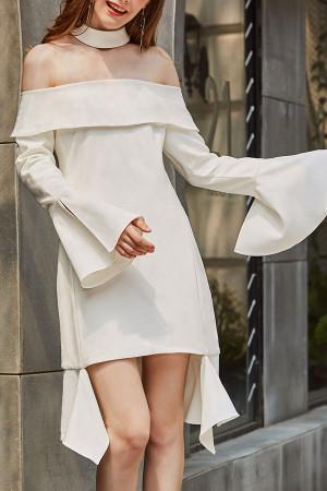 Off-the-shoulder High Low Dress