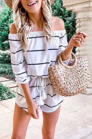 Off-the-shoulder Striped Romper