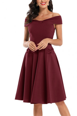 Off Shoulder Bow Prom Dress