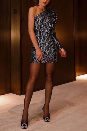 One-shoulder Color Block Bodycon Dress