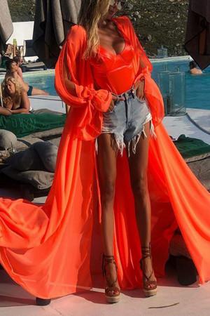 Orange Cardigan Chiffon Dress