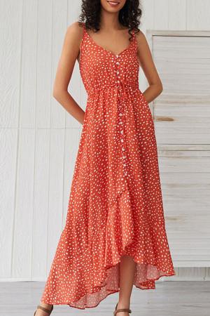 Orange Polka Dot Ruffled Dress