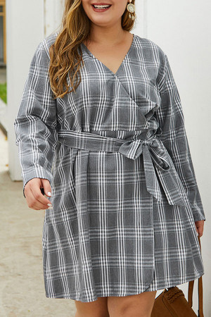 Plaid V-Neck Lace-up Dress