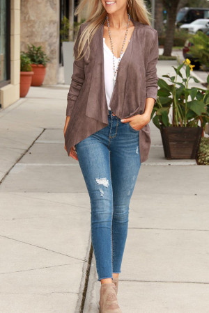 Plain Asymmetrical Casual Cardigan
