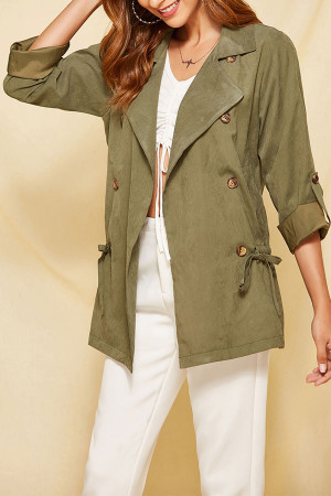Plain Drawstring Back Coat