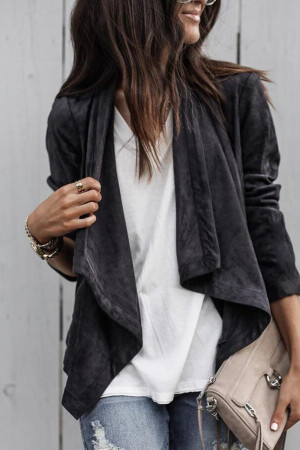 Plain Lapel Suede Casual Jacket