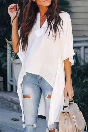 Plain V-neck Asymmetric Blouse