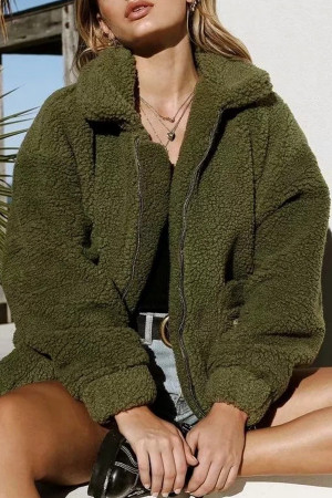 Plain Zipper Up Teddy Coat